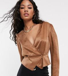 Атласная блузка на пуговицах UNIQUE21-Коричневый