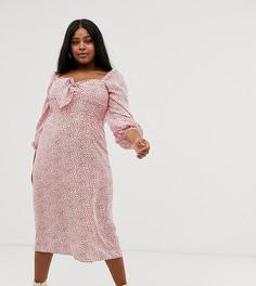 Платье мидакси с объемными рукавами и завязкой Glamorous Curve-Розовый
