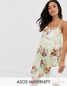 Плиссированное платье-трапеция мини с цветочным принтом и открытыми плечами ASOS DESIGN Maternity-Мульти