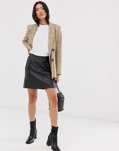 Кожаная черная мини-юбка с карманами Selected Femme-Черный