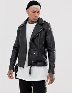 Байкерская куртка из искусственной кожи Couture Club-Черный