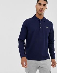 Темно-синее поло с длинными рукавами и логотипом Lacoste-Темно-синий