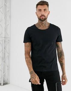 Черная футболка с овальным вырезом ASOS DESIGN-Черный