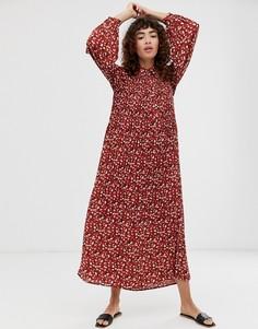 Плиссированное платье макси с цветочным принтом Selected Femme-Мульти