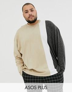 Oversize-футболка с длинным рукавом и добавлением льна ASOS DESIGN Plus-Бежевый