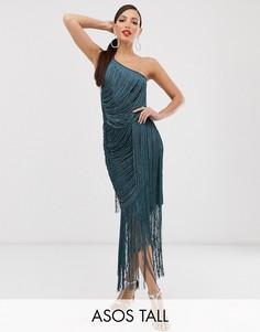 Платье макси на бретельках с бахромой ASOS DESIGN Tall-Синий