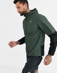 Куртка для бега цвета хаки New Balance Velocity-Зеленый