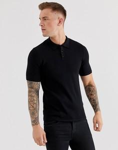Черная трикотажная футболка-поло ASOS DESIGN-Черный