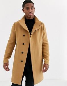 Куртка из ткани с добавлением шерсти и высоким воротником ASOS DESIGN-Светло-коричневый