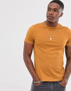 Золотистая приталенная футболка с логотипом Farah - Dennis-Желтый