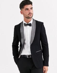 Черный приталенный пиджак-смокинг с серебристыми лацканами Avail London
