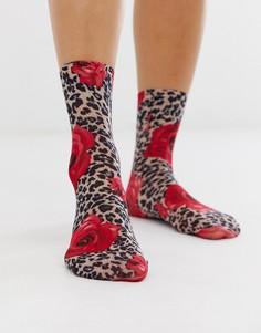 Носки до щиколотки с леопардовым принтом и розами Gipsy-Мульти