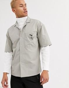 Свободная рубашка с фиксатором на кармане ASOS WHITE-Серый