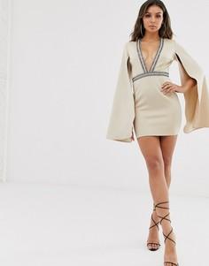 Бежевое платье мини с глубоким вырезом и отделкой Rare London-Бежевый