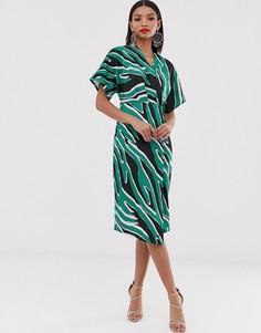 Платье миди с запахом и принтом Closet London-Фиолетовый