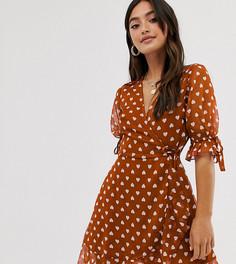 Платье мини с запахом и принтом Wednesdays Girl-Коричневый