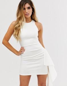 Платье мини с каскадной оборкой ASOS DESIGN-Белый
