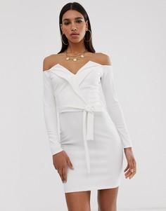 Белое платье мини с открытыми плечами Missguided-Мульти