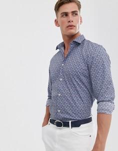 Рубашка классического кроя с цветочным принтом Selected Homme-Синий