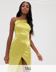 Лаймовое атласное платье на одно плечо Outrageous Fortune Tall-Коричневый