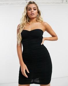 Платье-бандо мини с отделкой ASOS DESIGN - going out-Черный