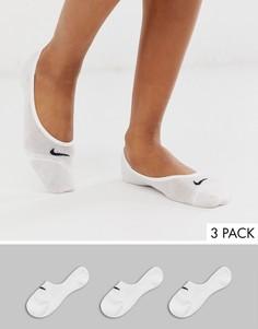 Набор из 3 пар белых невидимых носков Nike-Белый