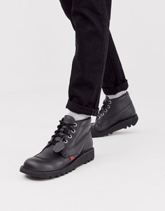 Черные кожаные высокие ботинки Kickers-Черный