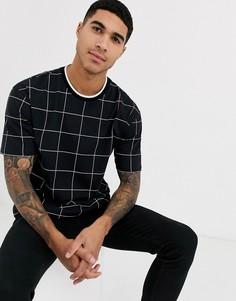 Черная футболка в клетку Topman-Черный