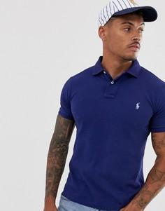 Синее облегающее поло из ткани пике с логотипом Polo Ralph Lauren-Синий