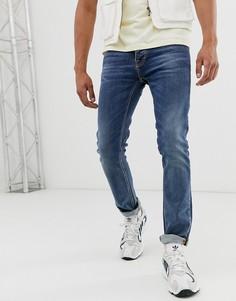 Темно-синие прямые джинсы слим Nudie Jeans Co Grim Tim-Синий