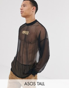 Сетчатая oversize-футболка с длинным рукавом и золотистыми римскими цифрами ASOS DESIGN Tall-Черный