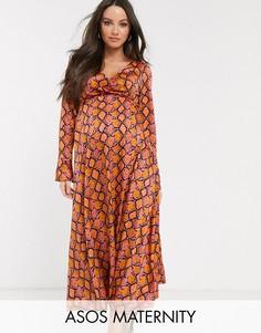 Платье макси с запахом и змеиным принтом ASOS DESIGN Maternity-Мульти
