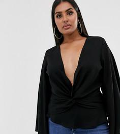 Черная блузка с запахом Missguided Plus-Черный
