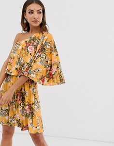 Плиссированное платье мини на одно плечо с кроп-топом и цветочным принтом ASOS DESIGN-Мульти