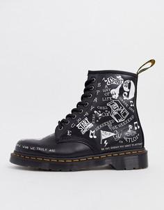 Черные ботинки с 8 люверсами Dr Martens 1460-Черный