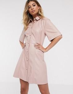Платье-рубашка мини на пуговицах из искусственной кожи ASOS DESIGN-Розовый