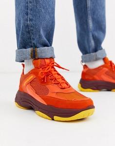 Оранжевые кроссовки на массивной подошве Calvin Klein Marvin-Оранжевый