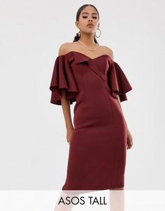 Платье миди с открытыми плечами ASOS DESIGN Tall-Фиолетовый