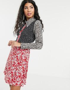 Короткое приталенное платье с жемчужными пуговицами и звериным/цветочным принтом Sister Jane-Красный