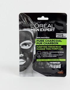 Очищающая маска-салфетка с чистым древесным углем LOreal Men Expert, 30 г-Бесцветный