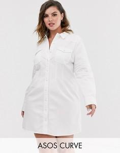 Белое джинсовое платье-рубашка в стиле вестерн ASOS DESIGN Curve-Белый