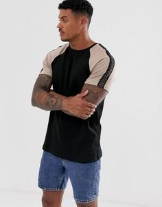 Черная футболка с контрастными рукавами реглан River Island-Черный