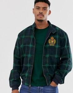 Куртка харрингтон в клетку тартан темно-синего/зеленого цвета с нашивкой в виде логотипа-эмблемы Polo Ralph Lauren-Темно-синий