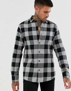 Приталенная хлопковая рубашка черного цвета в клетку и с начесом Only & Sons-Серый