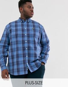 Синяя клетчатая рубашка с длинными рукавами из поплина Lyle & Scott-Синий