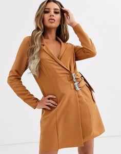 Платье-смокинг мини с пряжками ASOS DESIGN-Коричневый