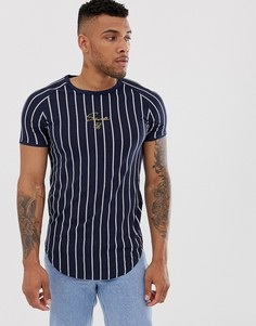 Облегающая футболка в полоску SikSilk-Темно-синий
