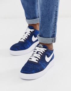 Темно-синие кроссовки Nike air force 1 flyknit-Темно-синий