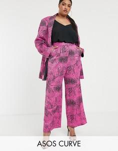 Розовые широкие брюки со звериным принтом ASOS DESIGN curve-Мульти
