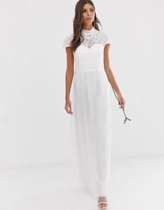 Платье макси с кружевным лифом и высоким воротом Little Mistress bridal-Белый